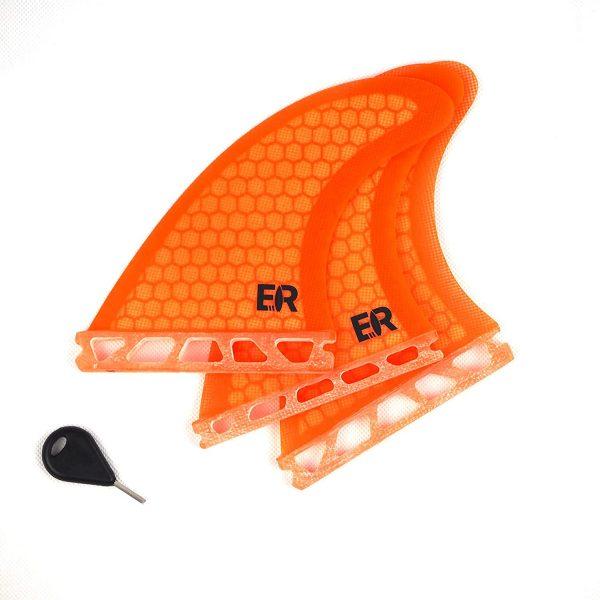 Eisbach Riders - Future Surfboard Fiberglas Honeycomb Thruster Fin Set with Fin Key - Quillas para Tablas de Surf - Size Medium